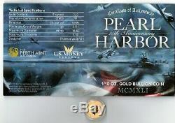 Gem BU 2016 Perth/Tuvalu Pearl Harbor Commemorative 1/10 Gold Coin with COA