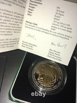Jamaica Bob Marley 60th Birth $50 Silver/Gold ounce Coin In Box