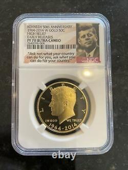 KENNEDY 50th ANNIV 1964-2014-W 50c HIGH RELIEF PF-70 ULTRA CAMEO 3/4oz GOLD COIN