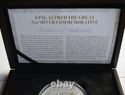 King Alfred the Great 5oz Silver Commemorative Medal/Coin 24ct Gold Plating COA