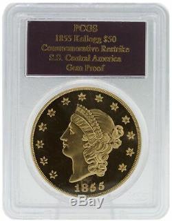PCGS 1855 Kellogg $50 Gem Proof Commemorative Restrike S. S. Central America Coin