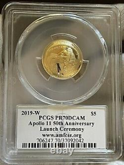 POP-30 2019 $5 Gold PR70 PCGS Coin Apollo 11 Commemorative PCGS FDOI Fred Haise