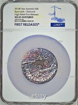 Rare Earth 2018 5oz Silver High Relief Patina golden diamond $8 Coin NGC MS69 FR