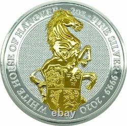 WHITE HORSE OF HANOVER QUEEN'S BEASTS 2020 2 oz Gilded Silver Bullion Coin