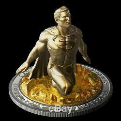 10 Oz. Argent Pur Plaqué Or Coin Superman Le Dernier Fils De Krypton