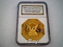 1852 Humbert Commémorative De 50 $ Octagon Dollars Gem Pf 2.5 Oz. 999 Pur Gold Coin