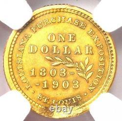 1903 Jefferson Commemorative Gold Dollar Coin G$ Certifié Ngc Au Détail