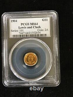 1904 $1 Dollar Lewis And Clark Commemorative Pcgs Ms 64 Pièce Commémorative D'or