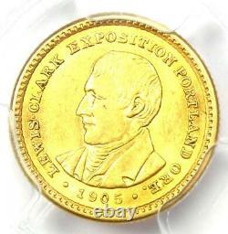 1905 Lewis & Clark Gold Dollar G$ Certifié Pcgs Ms61 (bu Unc) Rare Coin