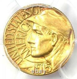 1915-s Panama Dollar D'or Pacifique G$ Pièce De Monnaie Pcgs Détails Non Circulés (unc Ms)