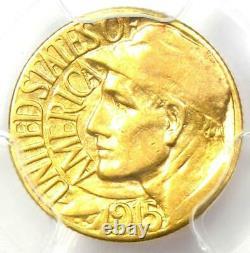 1915-s Panama Pacific Gold Dollar Pan-pac G$1 Pièce Certifiée Pcgs Au55 Rare