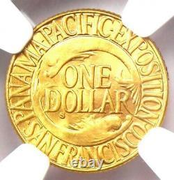 1915-s Panama Pacifique Dollar D'or G$ Pièce De Monnaie Certifiée Ngc Ms64 (bu Unc) Rare