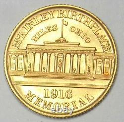 1916 Mckinley Commemorative Gold Dollar Coin G$1 Détail Non Circulé (unc, Ms)