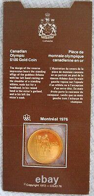 1976 $ 100 $ De Pièces D'or Olympiques De Montréal, 1/4 Oz Avec Tous Les Emballages D'origine