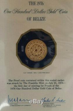 1976 Belize $ 100 Proof Coin Or Extrêmement Rare! Seulement 11 000 Mintage
