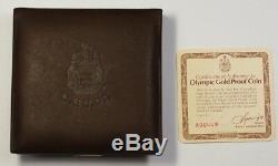 1976 Olympique Du Canada $ 100 1/2 Once D'or Preuve Pièce Commémorative Avec Coa No Box