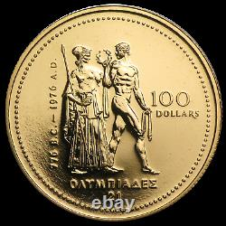 1976 Olympique Du Canada $ 100 Pièces D'or 1/4 14 Kt Once. 1 Coin Coin Ongecirculeerd Par Lot