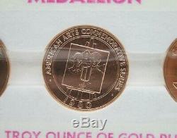 1980 American Bois 1 Oz Grant Arts 3 Médaille D'or Coin Set