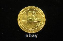 1981 Mark Twain Commemorative Medal American Arts 1 Oz Gold Coin Unc Avec Box Coa