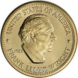 1982 Us Gold (1/2 Oz) Médaille Commémorative Arts Américain Frank Lloyd Wright Bu