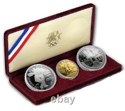 1983 / 1984 Monnaie Américaine 3 Pièce D'argent Olympique 10 $ D'or, Jeu De Preuves Commémoratives Avec Coa