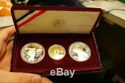 1983-1984 Olympique 3 Ensemble De Pièces De Preuve Commémorative Avec 10 $ En Or Et 2 Argent Dollars