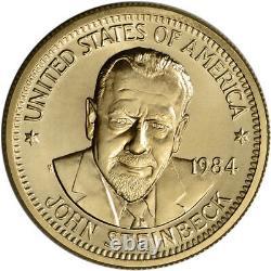 1984 Us Gold (1/2 Oz) Médaille Commémorative Arts Américain John Steinbeck Bu