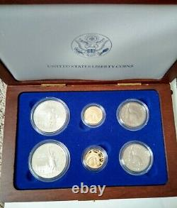 1986 6 Coin Liberty Set. 5 $ D'or, 1 $ D'argent, 0,50 $. Proof+ Versions Non Circulées