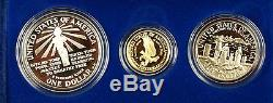1986 Liberty 3 Preuve Pièce De Monnaie Commémorative Set D'or 5 $ Argent 1 $ Et 50c Us Mint