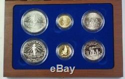 1986 Statue De La Liberté Ellis Island Com Proof & Unc 6 Coin Silver & Gold Set Jah