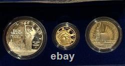 1986 Us Liberty Proof Set 3 Pièces $5 Gold, Silver & Half Dollar, Spécifications