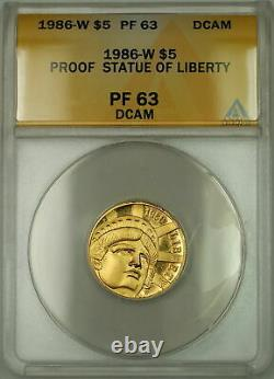 1986-w Preuve Statue De La Liberté Commémorative 5 $ Gold Coin Anacs Pf-63 Dcam