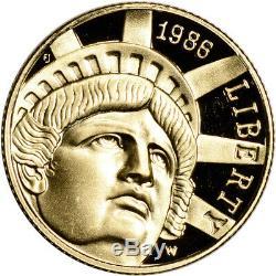 1986-w Us Gold $ 5 Statue De La Liberté Preuve Pièce Commémorative Capsule