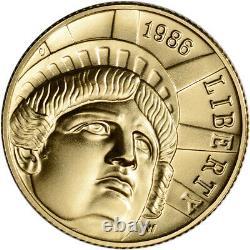 1986-w Us Gold $5 Statue Of Liberty Commemorative Bu Coin In Capsule