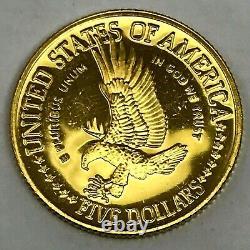 1986-w Us Gold $5 Statue Of Liberty Pièce De Preuve Commémorative