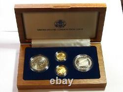 1987 Constitution Américaine 4 Pièces De Monnaie Set 2 Dollars D'argent, 2 Or 5 $ Preuves #9328