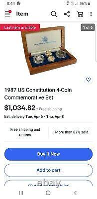 1987 Constitution Américaine 4-coin Ensemble Commémoratif 2 Or Et 2 Argent Avec Coa
