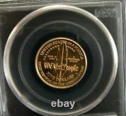 1987-w Gold Coin 1/4 Oz 5 $ Constitution Bicentenaire Commémoratif Ms69