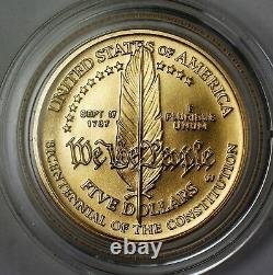 1987-w Non Circulé 5 $ Constitution Gold Coin Avec Capsule De Menthe Originale