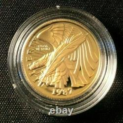 1987-w Pièce D'or 1/4 Oz $5 Constitution Bicentennial Commémorative Coin Bu