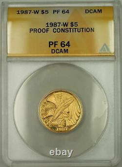 1987-w Proof Constitution Commémorative $5 Gold Coin Anacs Pf-64 Dcam