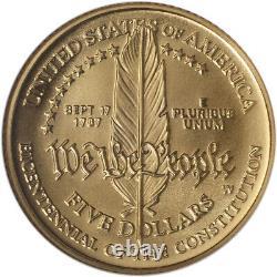 1987-w Us Gold 5 $ Constitution Commémorative Bu Ngc Ms70