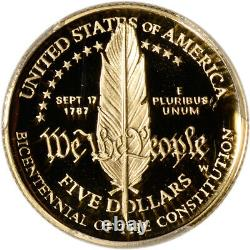 1987-w Us Gold $ 5 Constitution & Proof Commémorative Pcgs Pr69 Dcam