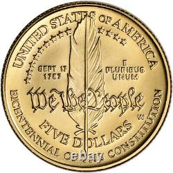 1987-w Us Gold $ Constitution Commémorative Bu 5 Coin Capsule