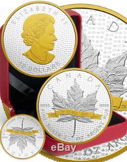 1988-2018 Iconic Sml 2oz Argent Pur Feuille D'érable Plaqué Or $ Preuve 10coin Canada