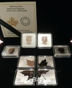 1988-2018 Maple Leaf Quartet Rose En Argent Plaqué Or Pur 4x 3 $ Preuve Canada Pièce