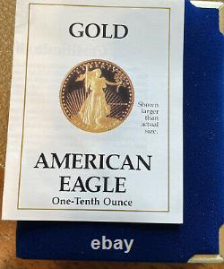 1988 American Eagle Proof 5 $ Pièce D'or Avec Boîte/coa