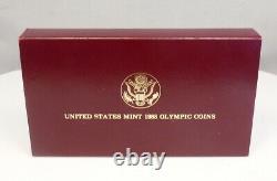 1988 Monnaie Américaine $1 Argent $5 Gold Olympic Proof 2 Coin Ensemble Commémoratif Avec Boîte Coa