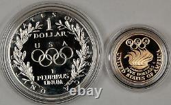 1988-w Proof Olympic Commémorative 2 Coin Set 5 $ D'or Et D'argent 1 Dollar Ogp