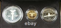1989 Congressional Commemorative 3 Coin Proof Set, Or & Argent Ogp